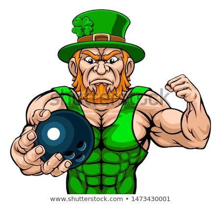 Leprechaun Holding Bowling Ball Sports Mascot Stock photo © Krisdog