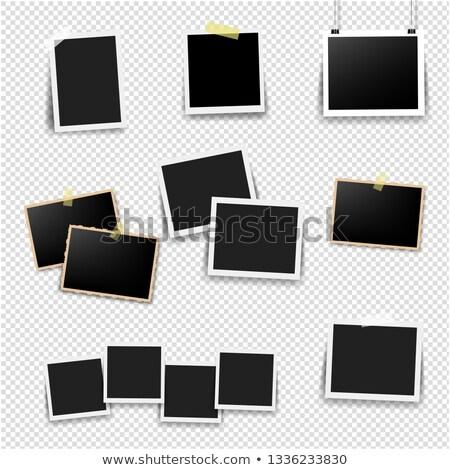 Siyah resim çerçevesi ayarlamak nane eğim Stok fotoğraf © cammep