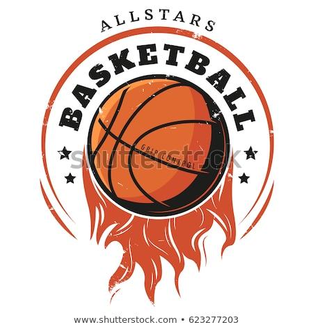 Color vintage basketball emblem Stok fotoğraf © netkov1