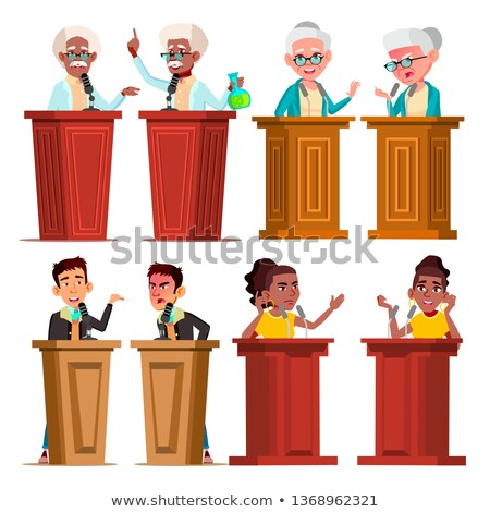 Politicians, Speakers, Tutors Cartoon Vector Characters Set Stok fotoğraf © pikepicture