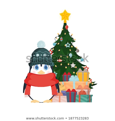 Penguins in Hat and Scarf near Christmas Tree Photo stock © robuart