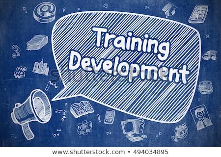 Staff Training - Doodle Illustration On Blue Chalkboard Foto stock © Tashatuvango