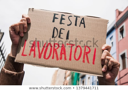 text may day in italian in a brown signboard Stock photo © nito