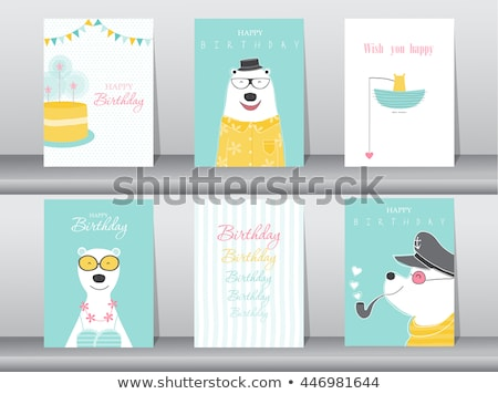 Happy Birthday Poster, Party Celebration, Man Hat Stock photo © robuart