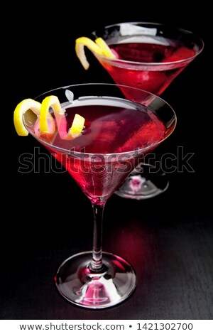 Felülnézet kozmopolita koktélok izolált fekete étel Stock fotó © dla4