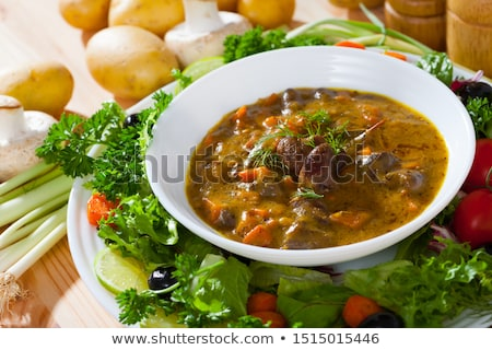 Kip lever groenten pot vlees eten Stockfoto © furmanphoto