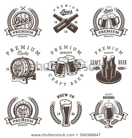 Vintage пива пивоваренный завод Этикетки вектора набор Сток-фото © netkov1