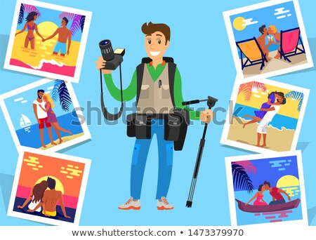 Journalist Freelancer with Tripod Near Pictures Stock photo © robuart