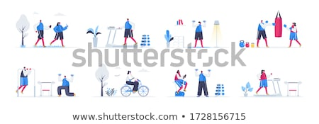 treadmill and bicycle set vector illustration stock photo © robuart