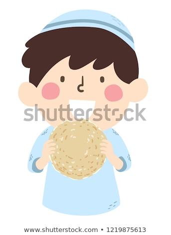 çocuk erkek yeme örnek ekmek bahar Stok fotoğraf © lenm