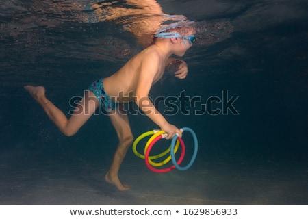 Vízalatti fiatal srác jókedv úszómedence védőszemüveg nyári vakáció Stock fotó © galitskaya