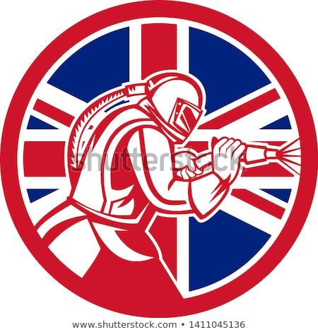 英国の ユニオンジャック フラグ サークル マスコット アイコン ストックフォト © patrimonio