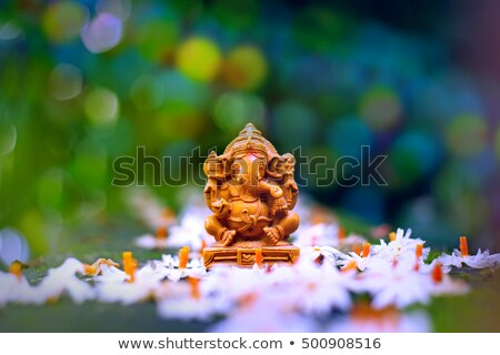 happy ganesh chaturthi festival greeting with diya stock photo © sarts