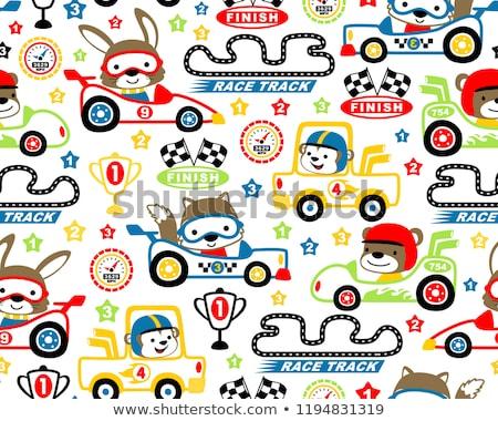 Cute animals driving cars pattern Stock photo © lemony