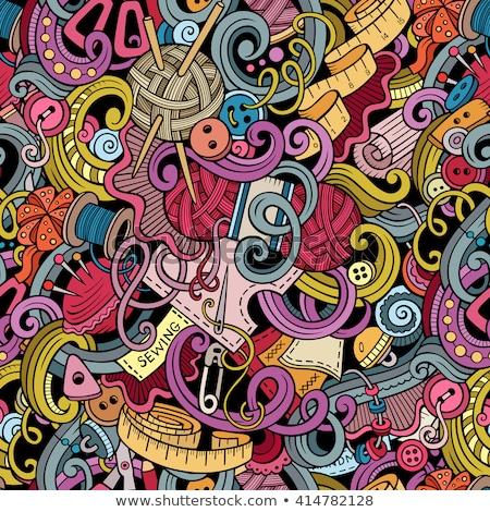 Desenho animado feito à mão de costura linha Foto stock © balabolka