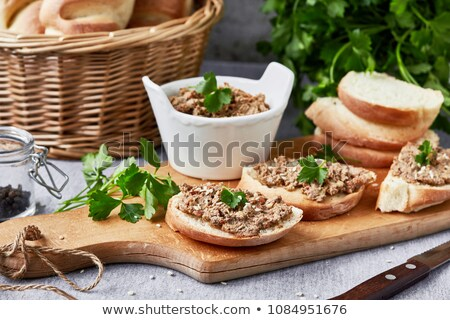 Slice of bread with pate on the wooden board Stock photo © Alex9500