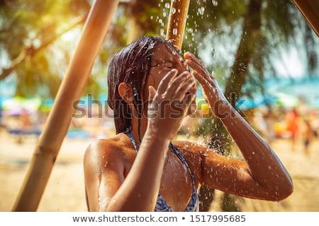Fetita duş plajă destul de copil Imagine de stoc © Anna_Om