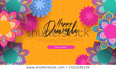 happy diwali indian flowers web page template stock photo © cienpies