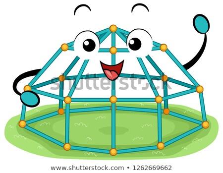 Mascotte ruimte peul koepel illustratie aap Stockfoto © lenm