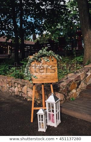Recepção de casamento feito à mão bem-vindo assinar decorado Foto stock © ruslanshramko