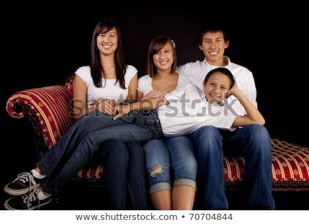 retrato · de · família · quatro · irmãos · preto · criança · criança - foto stock © lopolo