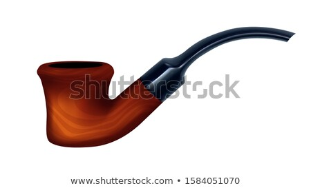 Tobacco Pipe Antique Wooden Smoker Device Vector Stock photo © pikepicture