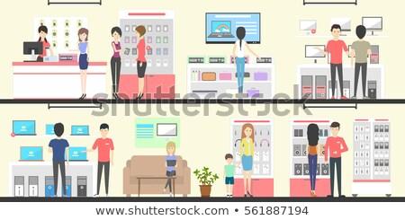 Férfi vásárol televízió szett készülékek áruház Stock fotó © robuart