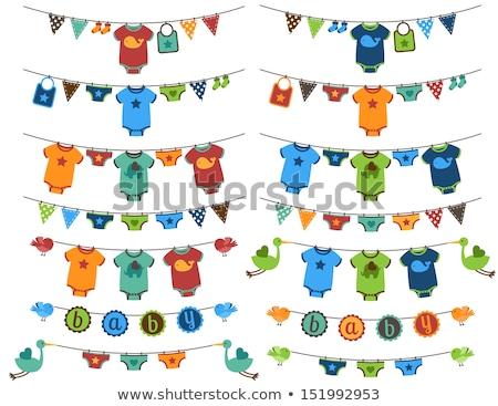 Baby ubrania wieszak rack buty linie Zdjęcia stock © vectorikart