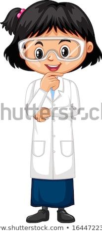 Fiú lány tudomány talár áll fehér Stock fotó © bluering