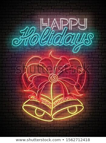 Brillo tarjeta de felicitación dos Navidad arco Foto stock © lissantee