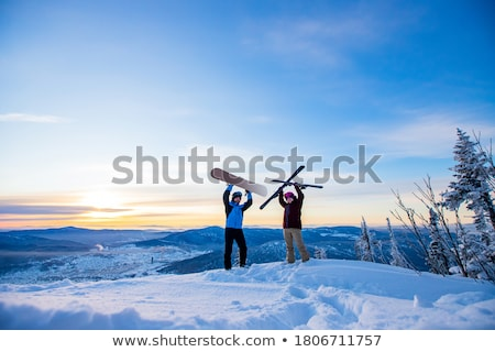 Family Stand with Skis in Forest, Winter Skiing Stock photo © robuart