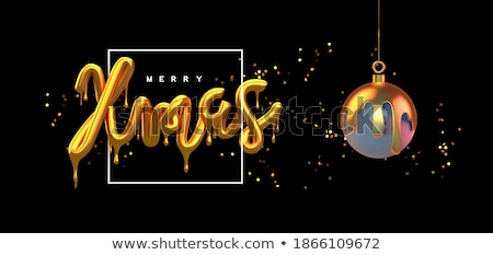 Merry Christmas melted gold 3d type quote card Stock photo © cienpies
