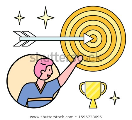Male Character Pointing on Target and Prize Vector Stock photo © robuart