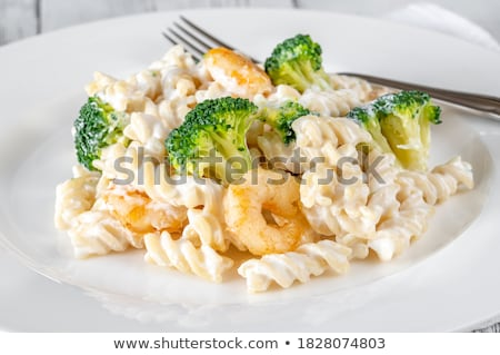 Fusilli with broccoli and shrimps  Stock photo © Alex9500
