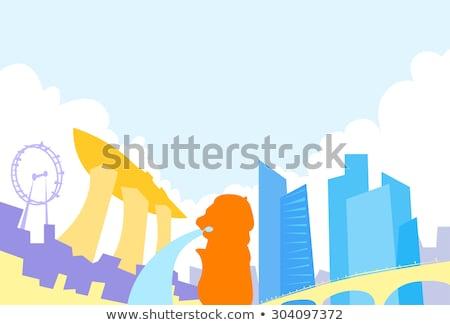 Abstract Singapore skyline with color landmarks. Stock photo © ShustrikS