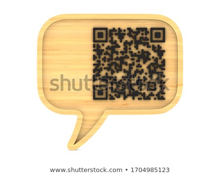 wooden bubble speak and QR code on white background. Isolated 3D Stock photo © ISerg