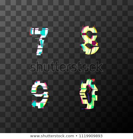 Glitch distortion font. Latin 7, 8, 9, 0 letters on transparent Stock photo © evgeny89