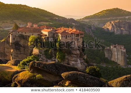 Klasztor Grecja widoku rock niebo górskich Zdjęcia stock © borisb17