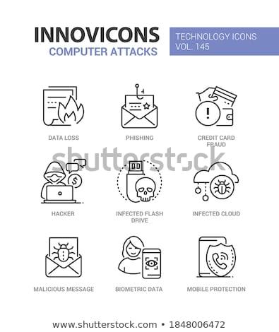Számítógép színes vonal terv stílus ikonok Stock fotó © Decorwithme