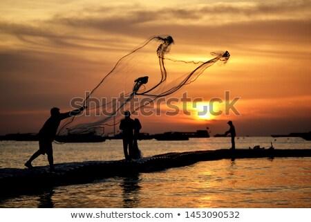 Tropikalnych rybak niebo charakter morza lata Zdjęcia stock © Paha_L