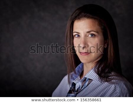 Foto stock: Cabeça · ombros · sorridente · feminino · executivo · sorrir