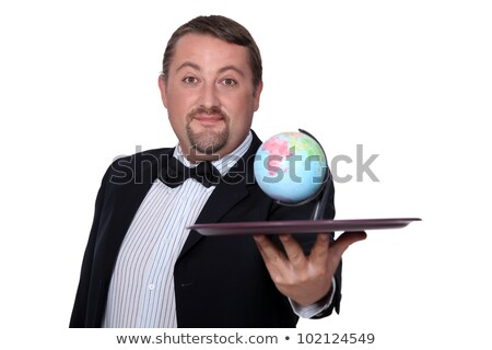 Elegante man wereldbol dienblad ogen restaurant Stockfoto © photography33