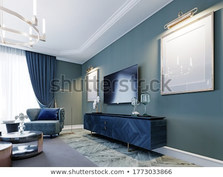mavi · duvar · oturma · odası · izlemek · iç · mimari · koltuk - stok fotoğraf © spectral