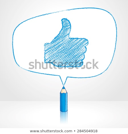 青 鉛筆 親指 アップ ビッグ 図 ストックフォト © dariusl