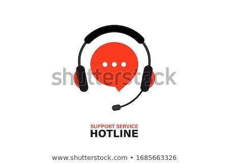 Stockfoto: Hotline · Rood · buis · uit · telefoon · 3D