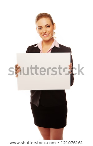 Blond woman holding blank message board Stock photo © photography33