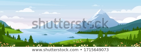 Landscape with grassland and lake Stock photo © ajlber