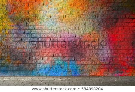 белый знак красочный кирпичная стена бизнеса стены Сток-фото © latent