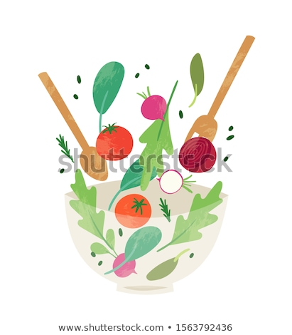 fresh tasty mixed salad with different vegetables isolated stock photo © juniart