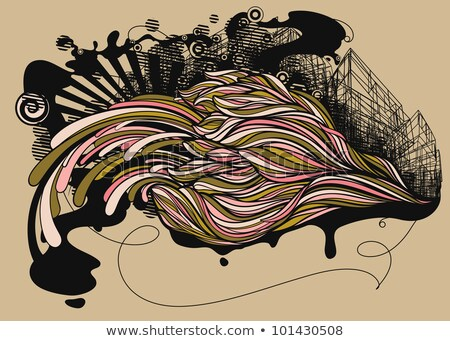 Stock photo: Collage with urbanistic elements and flower. Vector illustration.